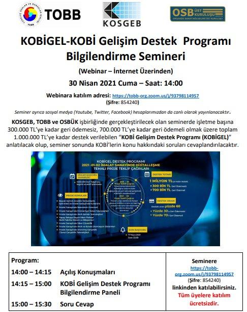 KOBİGEL-KOBİ Gelişim Destek  Programı Bilgilendirme Semineri (Webinar – İnternet Üzerinden)