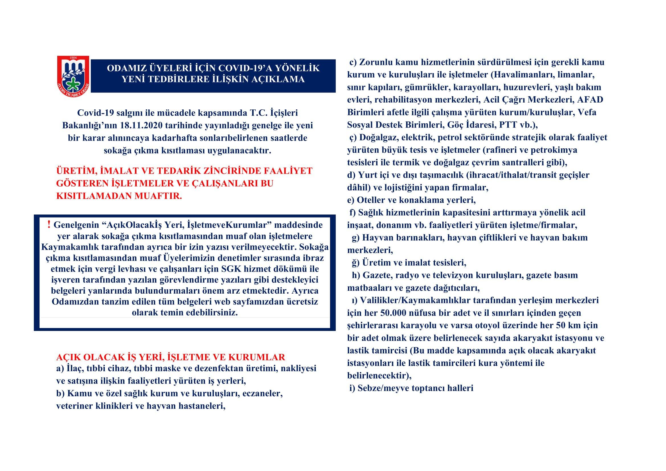 """ODAMIZ ÜYELERİ İÇİN COVID-19'A YÖNELİK YENİ TEDBİRLERE VE GENELGE KAPSAMINDA """"AÇIK OLACAK İŞ YERİ, İŞLETME VE KURUMLAR"""" A İLİŞKİN AÇIKLAMA"""