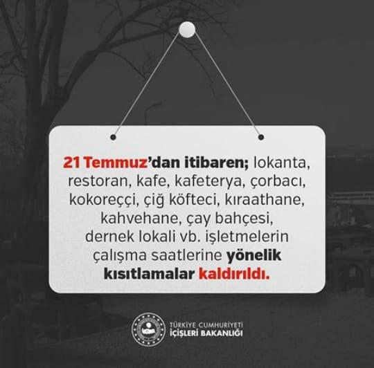 81 İl Valiliğine, Lokanta, Restoran, Kafe, Kıraathane vb. İş Yerlerinin Çalışma Saatleri Hakkında Genelge Gönderildi