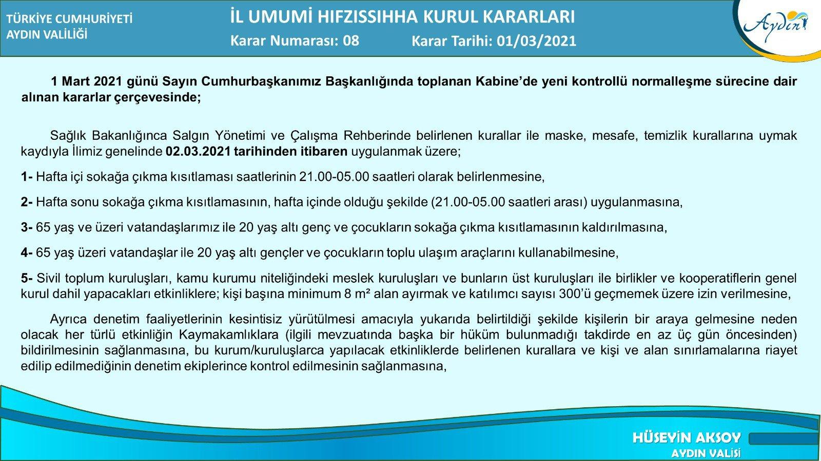 T.C. İçişleri Bakanlığı'nca 02.03.2021 tarihinde yayınlanan genelge kapsamında Aydın İl Umumi Hıfzısıhha Kurulu Kararları