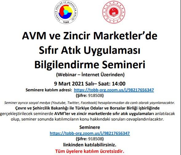 """""""AVM ve Zincir Marketler'de Sıfır Atık Uygulaması Bilgilendirme Semineri"""" (Webinar – İnternet Üzerinden)"""