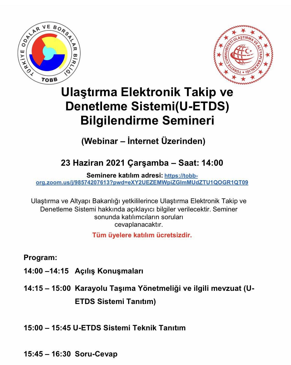 Ulaştırma Elektronik Takip ve Denetleme Sistemi(U-ETDS) Bilgilendirme Semineri