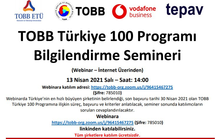 TOBB Türkiye 100 Programı Bilgilendirme Semineri (Webinar – İnternet Üzerinden)
