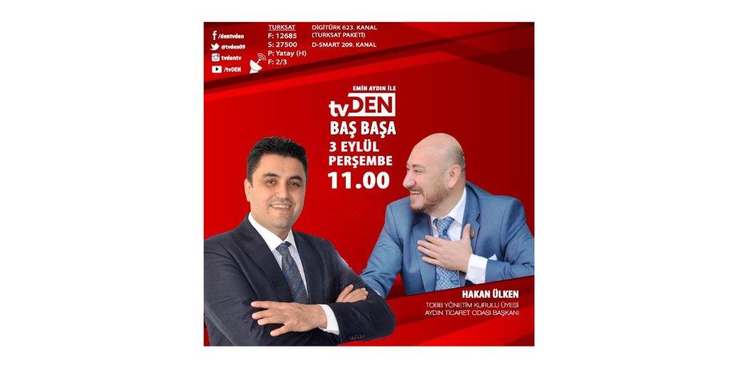 Odamız Yönetim Kurulu Başkanı Hakan Ülken 3 Eylül Perşembe günü saat 11:00'da TVDEN'de yayınlanacak olan Emin Aydın'la BAŞ BAŞA programına konuk oluyor.