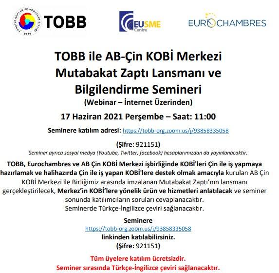TOBB ile AB-Çin KOBİ Merkezi Mutabakat Zaptı Lansmanı ve Bilgilendirme Semineri (Webinar – İnternet Üzerinden)