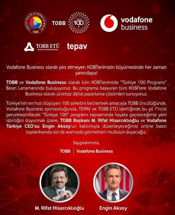 TOBB&Vodafone Business Türkiye 100 Lansmanı  (İnternet Üzerinden)