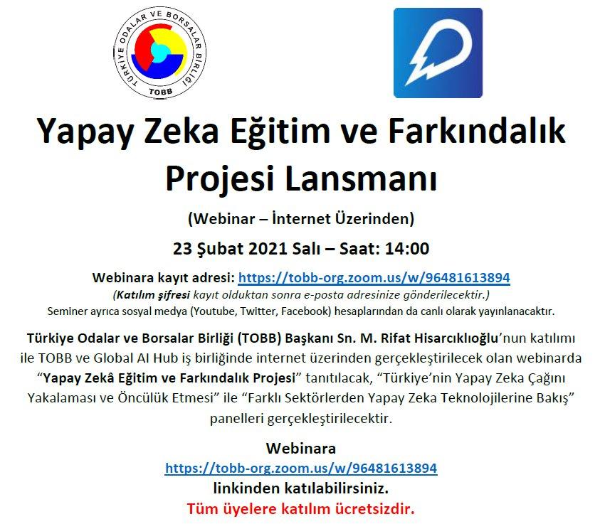 """""""Yapay Zekâ Eğitim ve Farkındalık Projesi"""" Lansmanı (Webinar – İnternet Üzerinden)"""