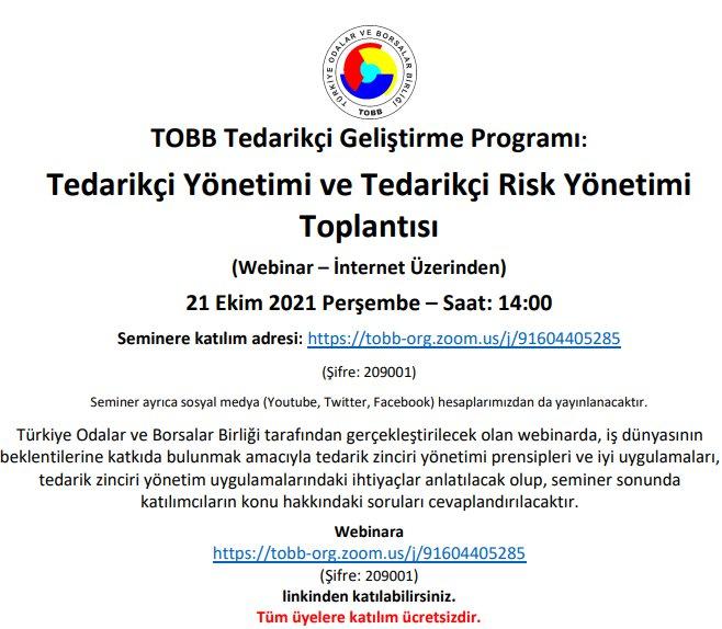 Tedarikçi Yönetimi ve Tedarikçi Risk Yönetimi Semineri (Webinar-İnternet Üzerinden)