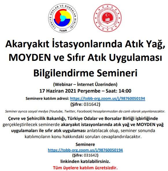 Akaryakıt istasyonlarında atık yağ, MOYDEN ve sıfır atık bilgilendirme semineri (Webinar – İnternet üzerinden)