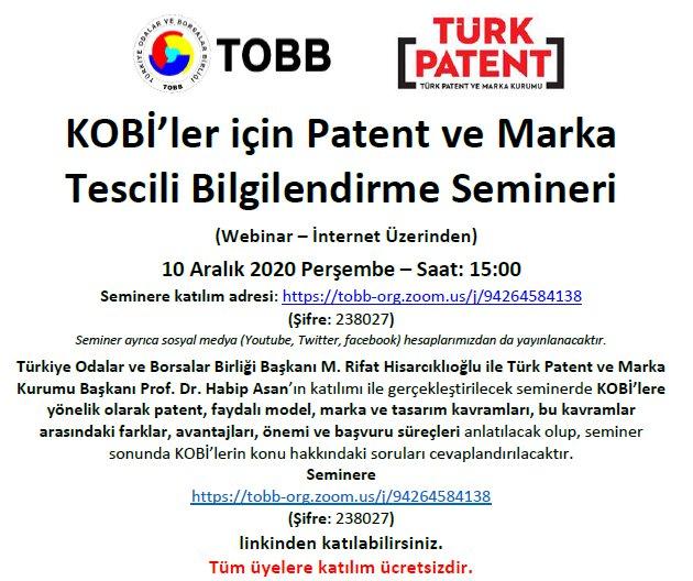 KOBİ'ler için Patent ve Marka Tescili Bilgilendirme Semineri (Webinar – İnternet Üzerinden)