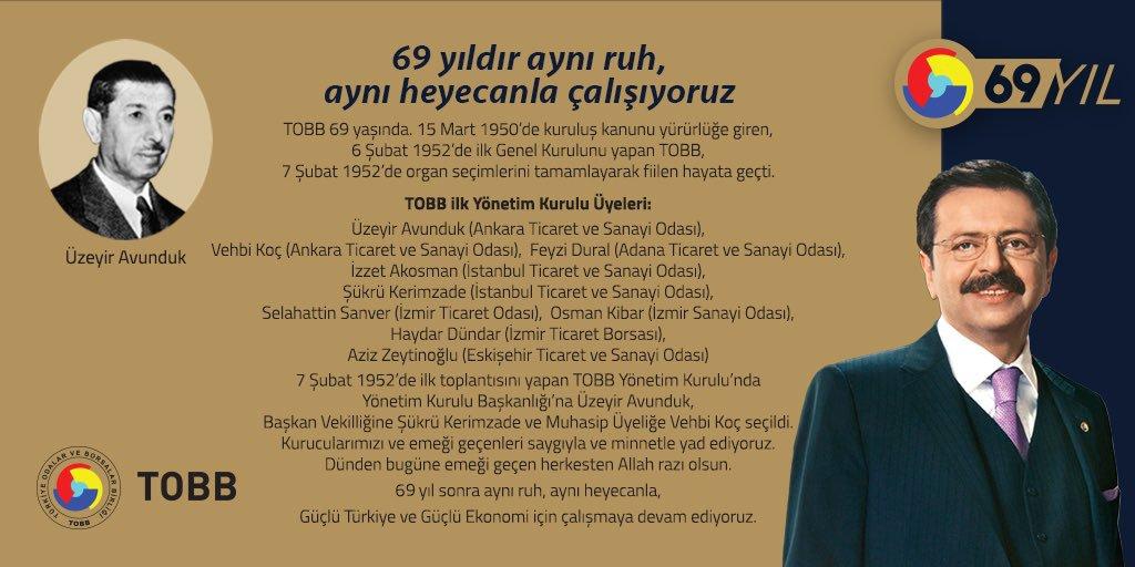 Türkiye Odalar ve Borsalar Birliği (TOBB) 69 yaşında