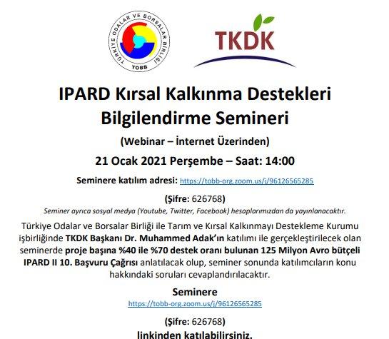 IPARD Kırsal Kalkınma Destekleri Bilgilendirme Semineri (Webinar – İnternet Üzerinden)