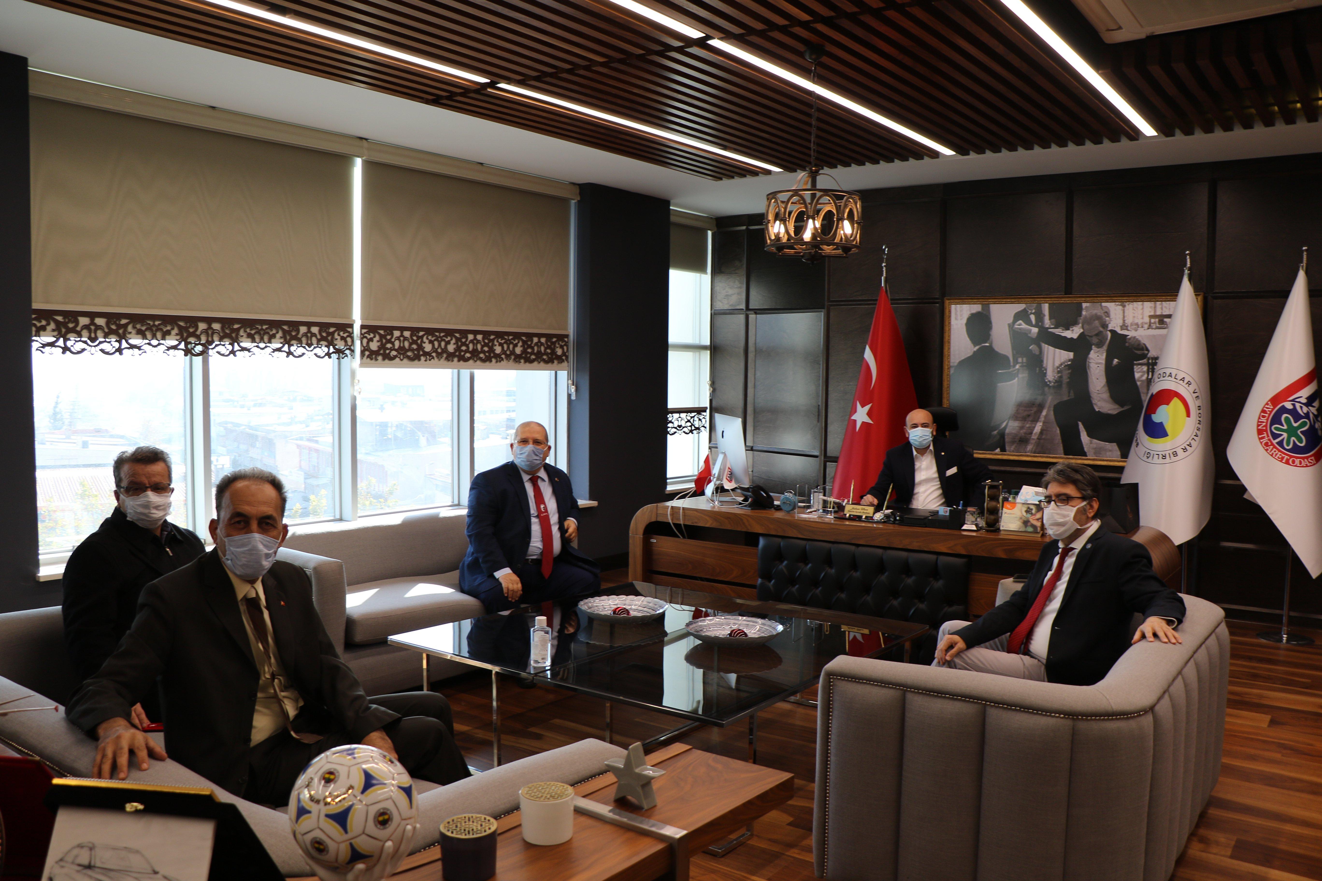 İyi Parti Aydın İl Başkanı  Sayın Süleyman DEMİRCİ ve Yönetim Kurulu Üyeleri, TOBB Yönetim Kurulu Üyesi ve Odamız Başkanı Hakan ÜLKEN'i makamında ziyaret etti.