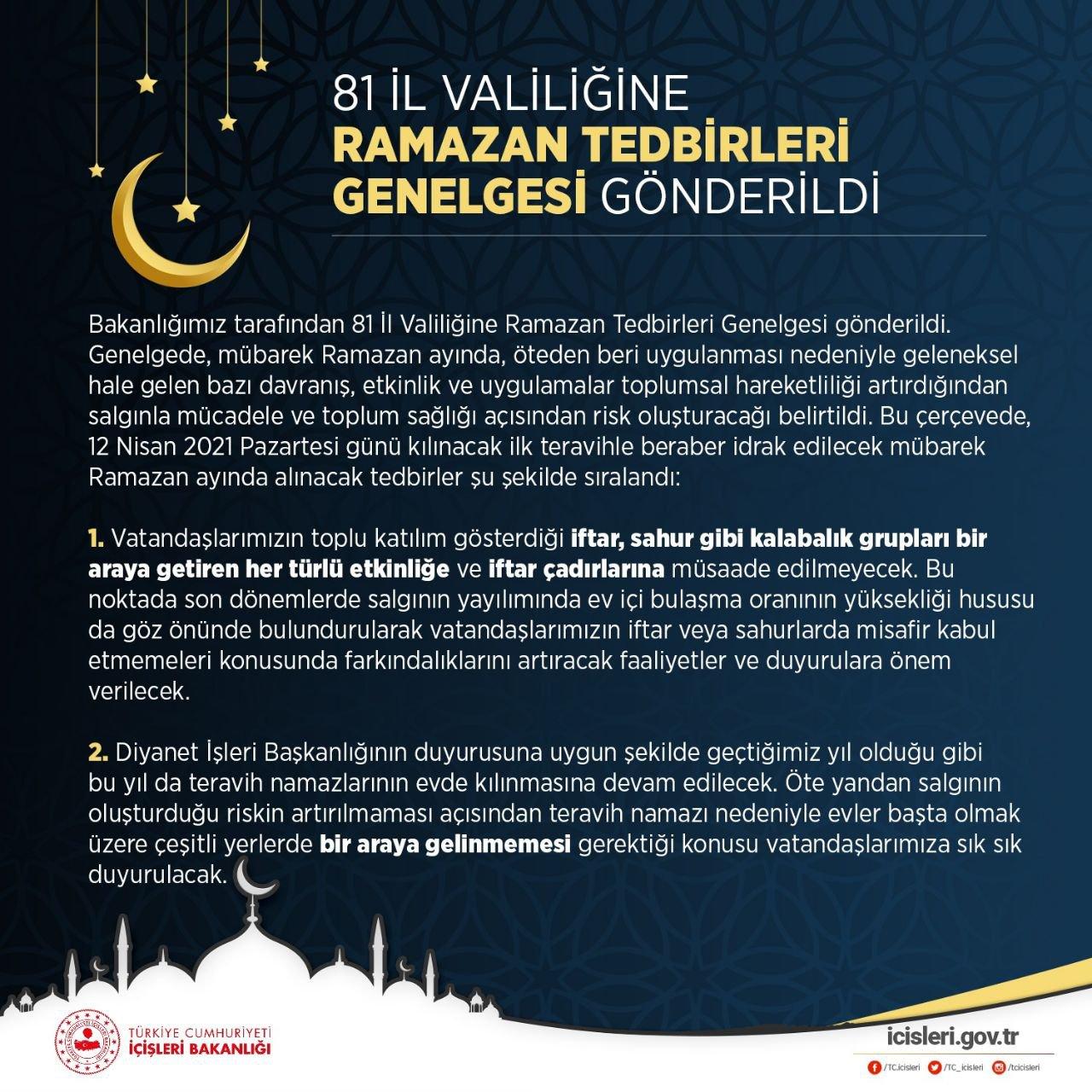 T.C. İçişleri Bakanlığı'nca, 81 İl Valiliğine Ramazan Ayı Tedbirleri konulu genelge gönderildi.