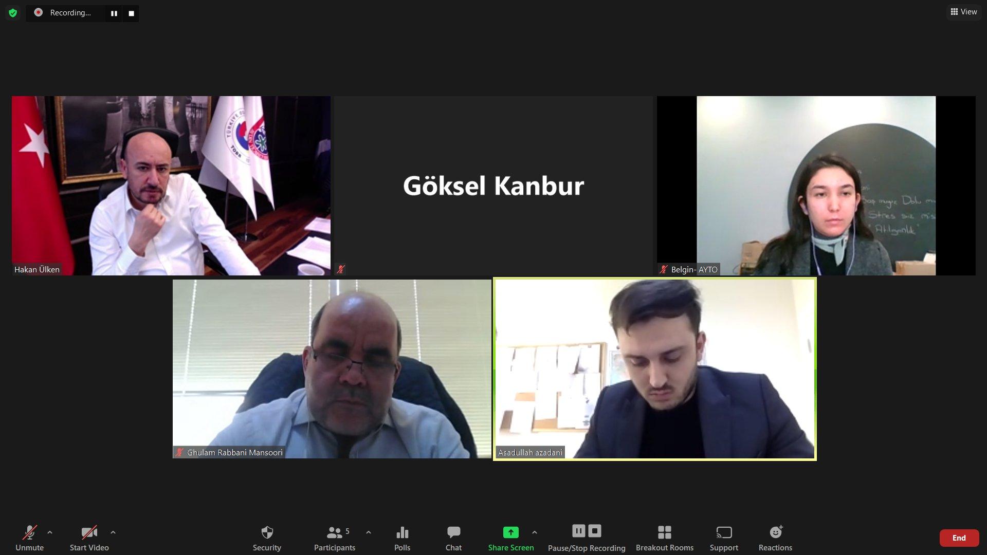 Aydın Ticaret Odası ve Afganistan arasında video konferans yoluyla Afganistan-Türkiye Ticari İlişkiler Toplantısı gerçekleştirildi