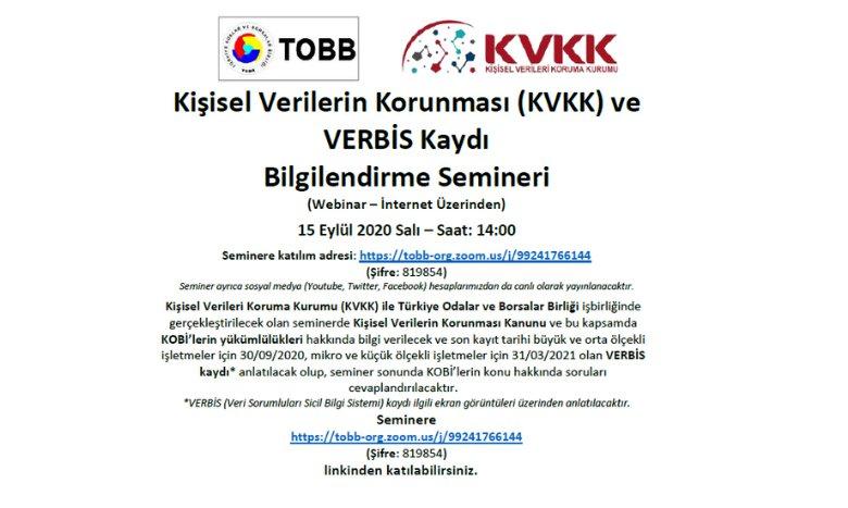 Kişisel Verilerin Korunması (KVKK) ve VERBİS Kaydı Bilgilendirme Semineri (Webinar – İnternet Üzerinden)