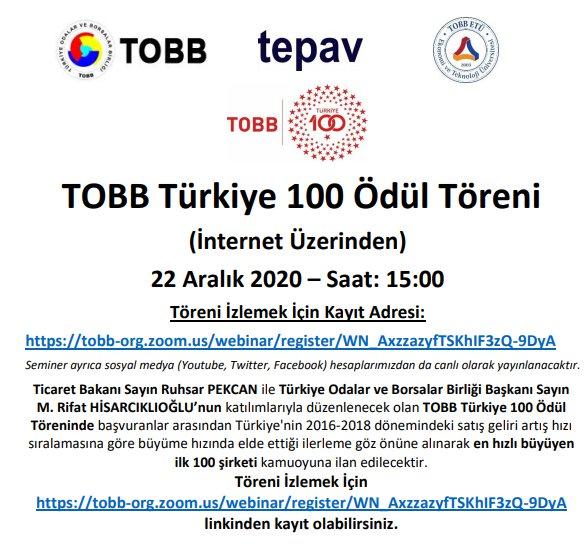 TOBB TÜRKİYE 100 ÖDÜL TÖRENİ