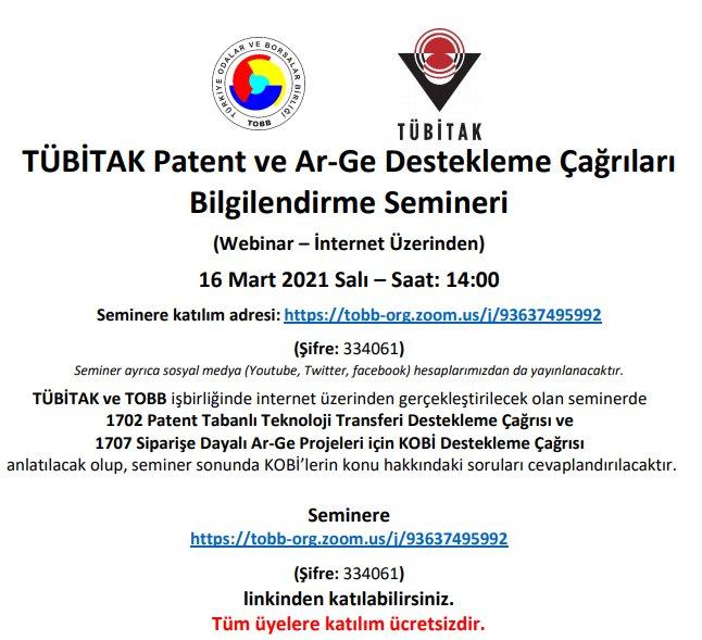 TÜBİTAK Patent ve Ar-Ge Destekleme Çağrıları Bilgilendirme Semineri